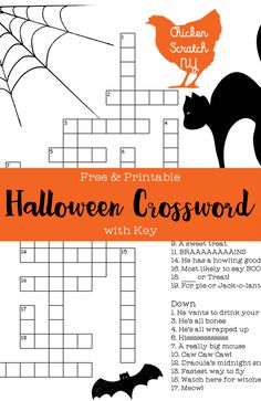 Free & Printable Halloween Crossword Puzzle ready to download and print on a standard sheet of paper. Answer key included