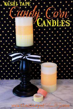 Dekortapasz gyertyán Dekorella Shop http://dekorellashop.hu/ #dekortapasz #washitape #maskingtape #DekorellaShop  Candy Corn  Candles made with washi tape