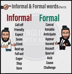 "Learn English 639370478336147226 - > ✪-Formal and informal language serve different purposes. The tone, the choice of words and the way the words are put together vary…""""> Image may contain: 2 people, text Source by olivierwurmser Teaching English Grammar, English Writing Skills, English Vocabulary Words, Learn English Words, English Idioms, English Phrases, English Language Learning, English Study, English Lessons"