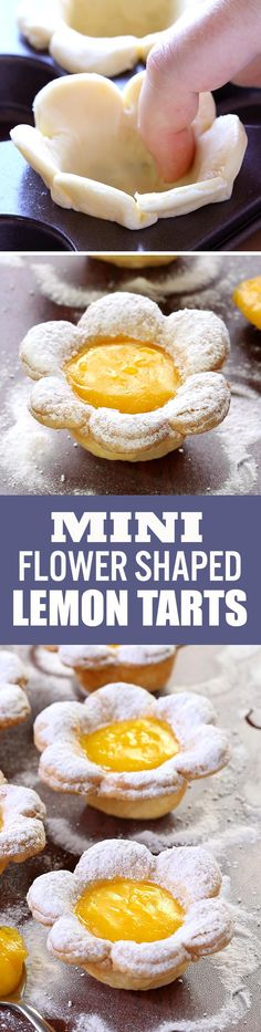 Flower Shaped Mini Lemon Tarts is part of Bite Size dessert - A bite sized dessert pretty enough for any special occasion From Easter to Mother's Day, birthdays to bridal showers, sure to impress Mini Desserts, Bite Size Desserts, Lemon Desserts, Lemon Recipes, Just Desserts, Sweet Recipes, Baking Recipes, Dessert Recipes, Crowd Recipes