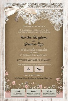 Afrikaanse E-pos Uitnodigings - E-Invites die Tuiste van E-pos Uitnodigings E Invite, Invitation Design, Wedding Stationery, Wedding Invitations, Event Themes, Portfolio Design, Wedding Planning, Wedding Ideas, Rsvp