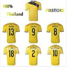 Colombia jersey top Thai version of the 2014 World Cup in Colombia home falcao jersey player football jerseys free shipping