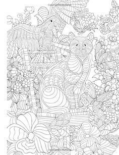 Adult Coloring Book Cats Birds Flowers And Butterflies Stress Relieving Patterns Volume 12