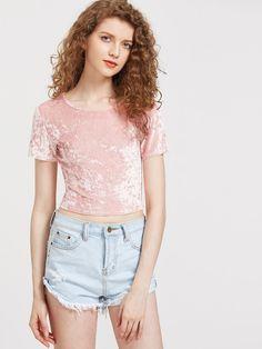 dce2043d3aa Slim Fit Crop Crushed Velvet Tee -SheIn(Sheinside) Cute Fashion