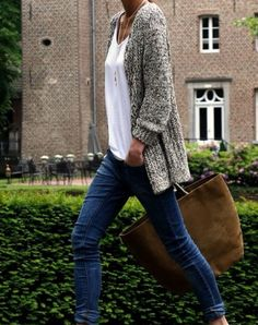 Denim, white blouse, oversized cardigan