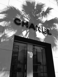 Chanel black and white photo.  Love the palm tree shadow on the building