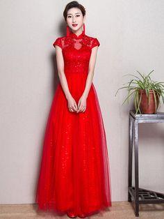 Red Maxi Tulle Qipao / Cheongsam Wedding Dress