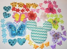47 Beautiful padded sequin heart&butterfly/flowers by jcraft4you