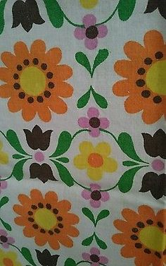 Vintage 1960s fabric floral Scandinavian cotton 35 inches x 42 inches. Curtain