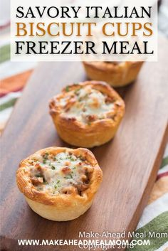 A few simple ingredients come together for a delightfully easy entree in these Cheesy Italian Biscuit Cups – great for dinner, lunch, meal prep or parties! These are the perfect combination of savory flavors – think breadsticks dunked in meaty bolognese sause and then dipped in melted cheese! And best yet, they make for an amazing freezer meal! So you can make them ahead and save to pull out on busy nights. #freezerfriendly #freezer #freezermeal #easydinner #makeahead #biscuitcups Best Freezer Meals, Freezer Cooking, Frugal Meals, Cooking Recipes, Meal Recipes, Dinner Recipes, Freezable Appetizers, Frozen Appetizers, Italian Biscuits