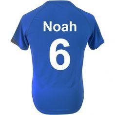 T-shirt de foot enfant personnalisé - Bleu poupepoupi.com