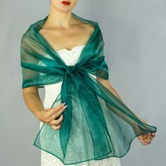 f493368dcebc Luxury Grass Green Organza wrap shawl bolero Winter wedding shrug elegant  accessory 200 cm emerald green
