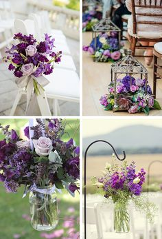 Purple Wedding Flowers Purple flower aisle and chair decor - Want wedding flowers that are equal parts bold and beautiful? We've rounded up 30 ways to include purple wedding flowers into your big day. Wedding Flower Guide, Cheap Wedding Flowers, Flower Bouquet Wedding, Floral Wedding, Flower Bouquets, Bridal Bouquets, Wedding Table Centerpieces, Wedding Chairs, Purple Centerpiece Wedding