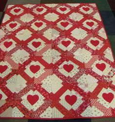 Red and White Hearts and Arrows, Patchwork and Applique Quilt,