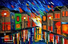 cityscape paintings rain painting couple night street by malorcka, $295.00