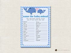 Whale Name the Baby Animal Baby Shower Game by OakCityPaperCompany
