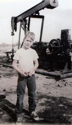 George W. Bushon a field trip with his dad, George H.W. Bush, to the oil fields outside Midland, TX, circa 1955.
