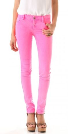 I love these Neon Pink skinny jeans. Colored denim is one of my favorite trends right now.