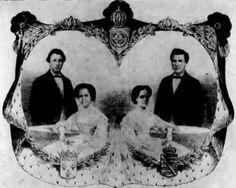 As princesas com seus conjunges, acima o Brasão da casa Imperial dos Bragança do Brasil  e abaixo os brasões da casa dos pretendentes.