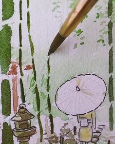 Watercolor Japan, Watercolor Food, Watercolor Drawing, Painting & Drawing, Watercolor Paintings, Watercolor Art Lessons, Arte Sketchbook, Cool Art Drawings, Diy Canvas Art