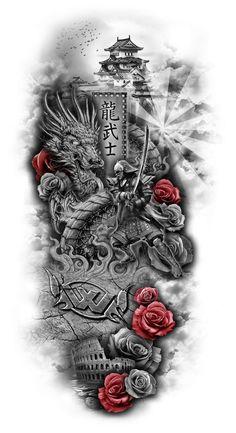 Výsledok vyhľadávania obrázkov pre dopyt samurai and dragon tattoo Asian Tattoos, Leg Tattoos, Body Art Tattoos, Tattoo Drawings, Cool Tattoos, Maori Tattoos, Dragon Tattoos, Japanese Tattoo Art, Japanese Sleeve Tattoos