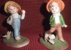 Vintage  Bisque Two Figurines - two little boys, made in Taiwan