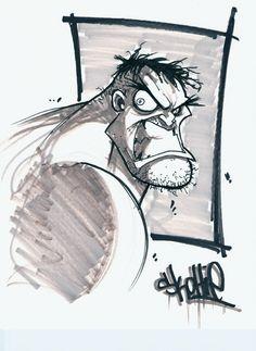 Hulk Bust Comic Art