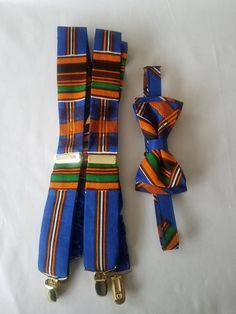 Blue and orange Kente print  bow tie and suspender set Father