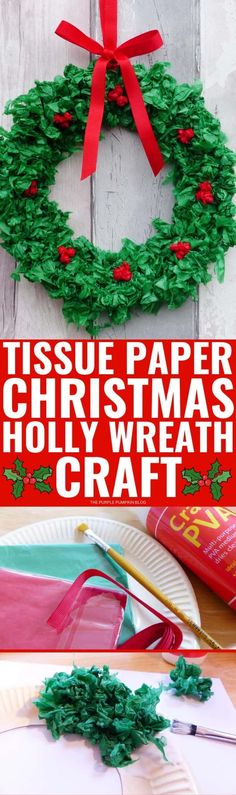 This Tissue Paper Christmas Wreath is a fun festive craft for all ages. It uses just a few basic craft supplies including a paper plate, ribbon, and tissue paper (of course!). #TissuePaperChristmasWreath #ThePurplePumpkinBlog #ChristmasCrafts #ChristmasWreath Christmas Crafts For Kids To Make, All Things Christmas, Crafts To Make, Easy Crafts, Christmas Diy, Christmas Wreaths, Wreath Crafts, Paper Crafts, Diy Wreath