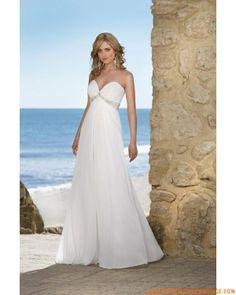 Robe col en V en satin et mousseline ornée de perles et de paillets belle robe de mariage