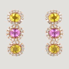 9K Pink Gold Stud Earrings With Diamond (1.02 K) and Multi Sapphire (2.7 K)  £1600 (81920)