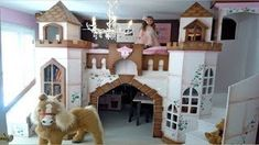 Princess Castle Bed and playhouse for a girls bedroom I want this myself. Bunk Bed With Slide, Bunk Beds With Stairs, Kids Bunk Beds, Loft Beds, Princess Castle Bed, Princess Room, Girls Bedroom, Bedrooms, Childs Bedroom