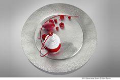 Vacherin Tourbillon, signature et creation Yann BRYS Assiette designed by Sylvie Amar Traditional Tea Sets, Assiette Design, Beaux Desserts, Michelin Star Food, Plating Techniques, Beautiful Desserts, Dessert Decoration, Edible Art, Culinary Arts