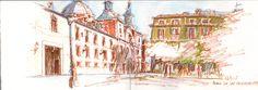 Al sol, en la plaza de las Comendadoras.
