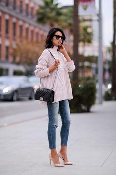 Viva Luxury - ASOS cable sweater, destroyed jean legging | Dolce & Gabbana pumps | Chanel Boy bag http://FashionCognoscente.blogspot.com