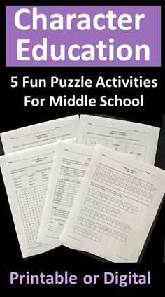 Character education resource includes a logic puzzle, cryptogram, rebus puzzles, word search, and word scramble for use at school or at home. Fun activities for homeroom, advisory, counseling, fast-finishers, or any time! Includes 5 printable or digital pages plus answer keys. Rebus Puzzles, Logic Puzzles, Page Plus, Character Education, Fun Activities, Counseling, Middle School, Fast Finishers, Printables