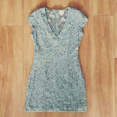 """Parker Sequin Dress - Size S Parker Serena Sequin Dress - Size Small. Light blue dress covered in sequins and pearls. Fully lined, hidden back zipper with hook & eye closure. Shell 100% Silk, Lining 100% Rayon. Measurement length from shoulder seam to hem is 32"""". Parker Dresses Mini"""