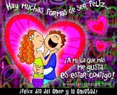 tarjeta-de-día del amor y la amistad-Se vale ser feliz. Elf, Birthday Cards, Happy Birthday, Love Images, Vintage Valentines, Love Notes, Happy Day, Love Life, Fun Facts