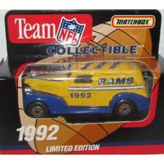 Los Angeles Rams 1992 NFL Diecast Sedan 1:63 Scale Collectible Limited Edition Football Team Car By White Rose Matchbox    $21.49