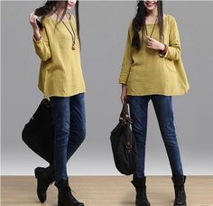 yellow red green Loose Fitting Linen long Sleeve by clothnew88, $66.99