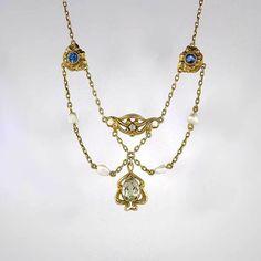 Art Nouveau Sapphire Diamond & Natural Aquamarine Beryl Pearl Festoon Necklace 14k