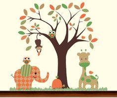 Orange and Green Nursery Safari Jungle Pattern Tree and Animals Set - Vinyl Wall Art Decal (Etsy)