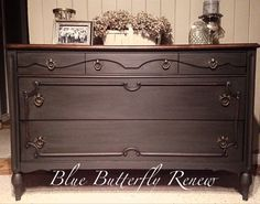 Dresser done in Annie Sloan Chalk Paint Graphite with dark wax. Top left natural