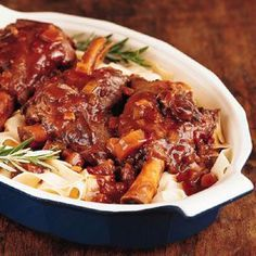 Braised in a slow cooker, these lamb shanks are falling-off-the-bone tender.