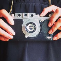 Selfie of my cute iPhone cover that looks like a retro camera.