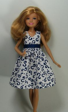 Stacie Doll Clothes  Blue and White Print  by OhSoChicDollClothes, $7.25