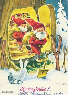Irma Salmi Kobold, Elves And Fairies, Jingle Bells, Vintage Cards, Troll, Illustrators, Pixie, Christmas Cards, Parents