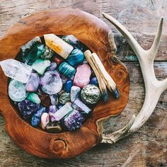 Image result for crystals in wood bowls