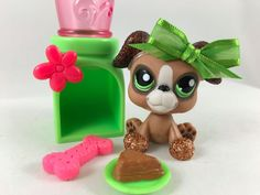 Littlest Pet Shop RARE Mocha Brown Glitter Boxer Dog #2351 w/Accessories #Hasbro
