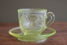 Antique-Rilpey-Glass-Co-Childs-Tea-Cup-and-Saucer-Set-Dog-Puss-in-Boots